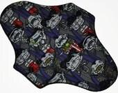 Moderate Hemp Core- Vampires at the Movies Reusable Cloth Maxi Pad- WindPro Fleece- 10 Inches (25.5 cm)