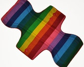 Moderate Core- Rainbow Stripes Reusable Cloth Overnight Pad- WindPro Fleece 10.5 Inches (26.5 cm)