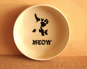 Siamese CAT Food Water Bowl - Handmade Cream Stoneware Bowl - MEOW Bowl - Ready To Ship