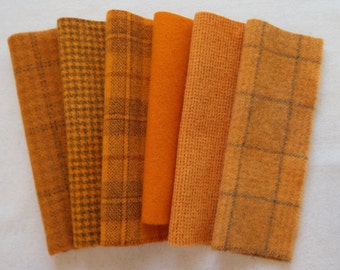 "Orange Hand Dyed Felted Wool Fabric 7-8"" x 6-5"" Wool Charm Pack of 5 Quilting, Sewing, Wool Applique"