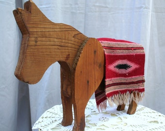 Adorable 1950s Wood / Handmade / Folk Art Mexican Donkey / Burro with Mexican Wool Blanket