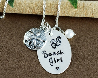 Beach Girl Necklace, Sand Dollar Jewelry, Hand Stamped Necklace, Starfish Jewelry, BeachJewelry, Beach Lover