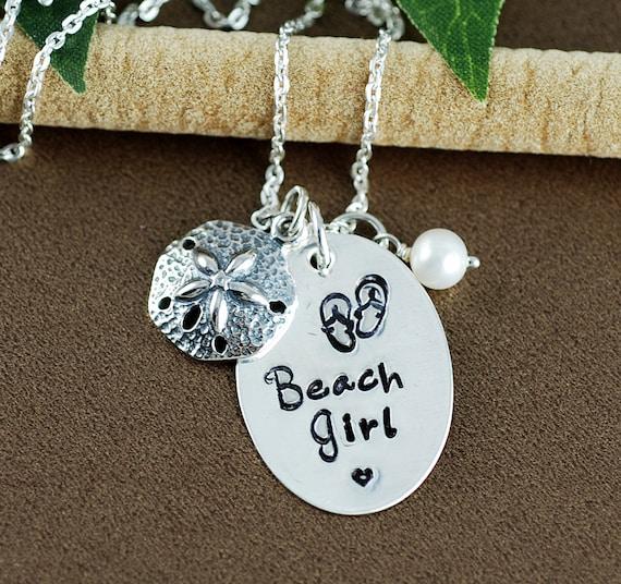 Beach Girl Necklace, Sand Dollar Jewelry, Hand Stamped Necklace, Starfish Jewelry, BeachJewelry, Beach Lover