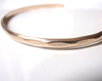 14k Gold Hammered Cuff Bracelet Handmade, Over 7 inches Pure Gold