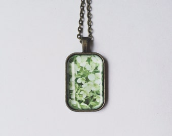 Hydrangea Necklace, Photo Pendant, Green Hydrangea, Flower Photography, Pendant Nexklace