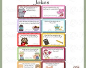 Lunchbox Notes ~ Valentine's Day Jokes, sheet of 10 - Digital Printable - Immediate Download