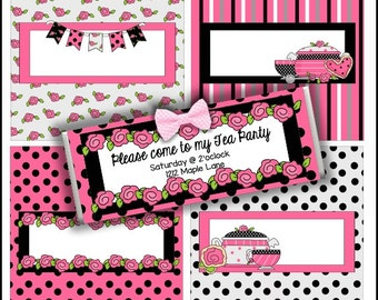 Tea Party Candy Bar Wrappers, set of 4  - Digital Printable - Immediate Download