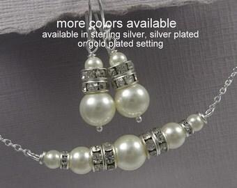 Ivory Pearl Bridesmad Jewelry Set, Swarovski Ivory Pearl Bridal Jewelry Set,  Bridesmaid Gift, Will You Be My Bridesmaid, Bridal Shower Gift