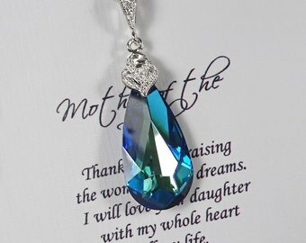 Swarovski Bermuda Blue Necklace, Mother of the Bride Gift, Mother of the Groom Gift Necklace, Blue Wedding Necklace Blue Bridesmaid Necklace