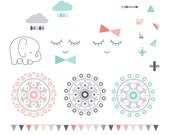 Mod Baby Digital Clipart Clip Art Illustrations - instant download - limited commercial use ok