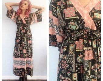 Vintage Floral and Paisley Kimono Maxi Dress