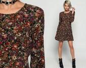 90s Mini Dress Floral Grunge Print BUTTON BACK Drop Waist Boho Skater Vintage Long Sleeve Graphic Minidress Orange Olive Green Small