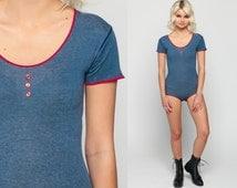 80s Bodysuit Top Plain Blue Shirt 90s Grunge Blouse Vintage Spandex Low Cut Scoop Neck Body Suit Short Sleeve Button Up Red Extra Small xs