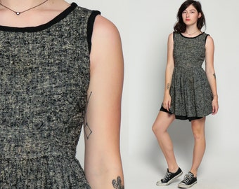 60s Mod Dress Mini Mod FLECKED Knit 1960s Mad Men Fit and Flare Retro Vintage Plain Sleeveless Indie Hipster Simple 70s Black Tan Small