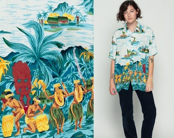 Hawaiian Shirt HULA GIRL Tiki Ethnic Blouse 90s Palm Tree Print Sailboat Vintage Button Up Down Surfer Short Sleeve Blue Retro Medium