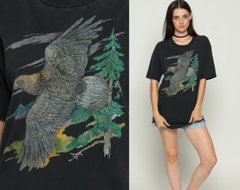 Bird Shirt 80s HAWK Animal TShirt Vintage Retro T Shirt Graphic Tee Wilderness Screen Print 1980s t shirt Faded Black Eagle Large