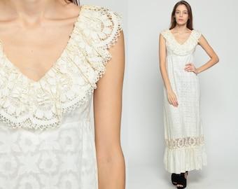 Boho Maxi Dress 70s White LACE Ruffle Bohemian Wedding Tiered Floral Empire Waist Cotton 1970s Vintage Semi Sheer Festival Medium