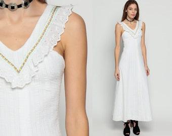 70s Boho Dress Cotton Sundress EYELET LACE Maxi Hippie White 1970s Vintage Sun Bohemian Ruffle Floral Empire Waist Prairie Extra Small xs