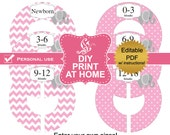 DIY printable baby or child closet dividers Pink elephant - Editable PDF Digital File (No.39)
