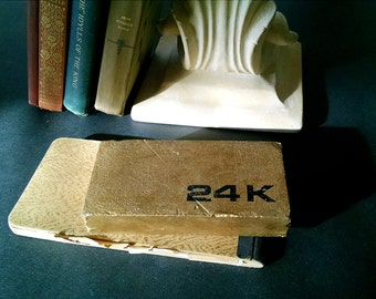 Vintage 24K Gold Bullion Bar Paperweight Bookend Painted Metal