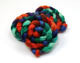BFL Wool/ Mohair (70/30) Roving (Combed Top) - Blue Face Leicester/ Mohair - Handpainted Felting or Spinning Fiber