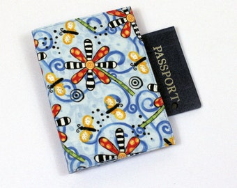 Blue Passport Cover with Velcro Closure, Passport Case in Polka Dot Garden Cotton Fabric, Travel Wallet or Holder