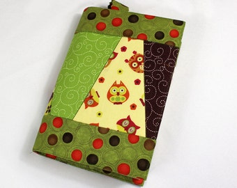 Owls Paperback Book Cover, Patchwork in Brown, Green, Trade Size Only