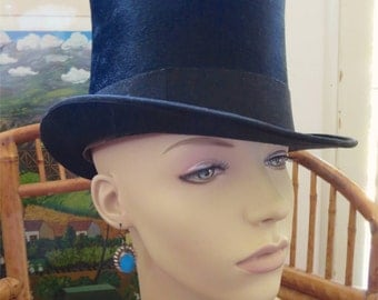 Antique 1920s Or Earlier Black Beaver Top Hat German Label Excellent 6 7/8 Size