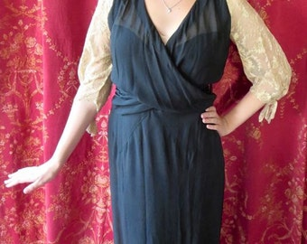 1920s Black Silk Wrap Waist Deco Flapper Dress With Tambour Lace Sleeves & Back 34 Bust