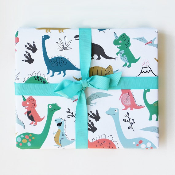 Wrapping Paper Dinosaur Gift Wrap Birthday Wrapping Paper