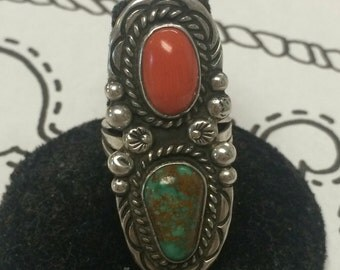 Size 6.5 turquoise and coral vintage ring Anita Lowery