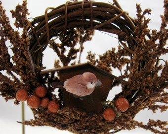Bird and Rustic Birdhouse Christmas Ornament 155