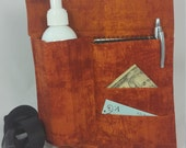 Massage Therapy Single bottle LEFT hip 3 pocket holster, Rust patina print, black belt