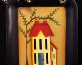 Saltbox House Prim Hand Painted Mini Tray Wall Hanging