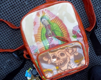 Fashion Folk Art Backpack Made of Leather & Mexican Shopping Bags