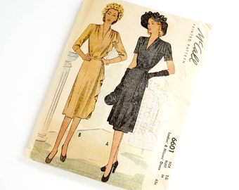 Vintage 1940s Womens Size 16 Cascade Dress McCalls Pattern 6601 / bust 34 waist 28 / Complete