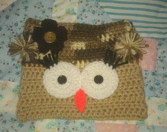 Handmade Crochet Owl Purse Tan and Desert Storm Color
