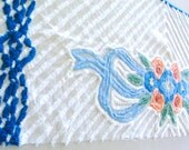 Gorgeous Floral Ultra Peach and Blue Plush Vintage Chenille Bedspread Fabric 20 x 60 Inches