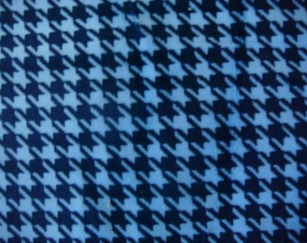 Houndstooth Blue Polyester Minky Fabric 18 x 60 Inches Remnant