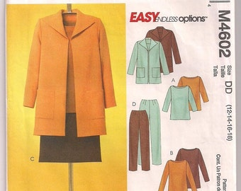 Jacket Pattern, Pullover Top or Tunic, Skirt Pattern, Pants Pattern McCalls 4602, Casual Office Wear, Career Woman 12 14 16 18 Uncut