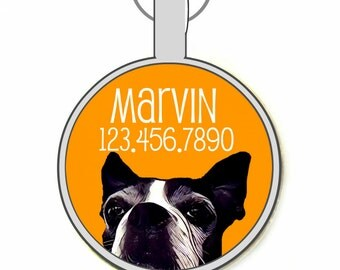 Boston Terrier Print Silver Custom Personalized Dog ID Pet Tag Custom Pet Tag You Choose Tag Size & Colors
