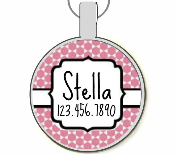 Personalized Dog ID Pet Tag Pretty Moroccan Custom Pet Tag You Choose Tag Size & Colors