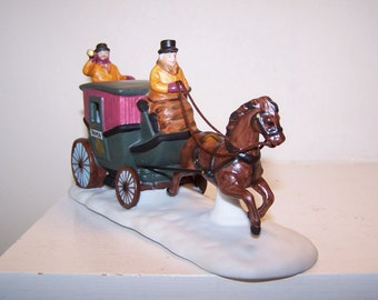 Dover Coach, Heritage Village, Department 56, Horse and Carriage, Horse and Coach, Christmas Village, Porcelain Figurine, Vintage, Holiday