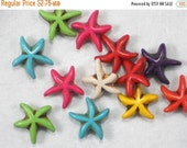 SALE 36 Starfish Beads Mixed Colors Howlite 15mm Adorable Rainbow of Fun (C432)