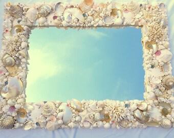 Coastal Wall Mirrors coastal decor seashell mirror nautical decor beach decor