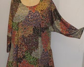 Plus Size Top, Coco and Juan, Lagenlook, Plus Size Tunic, Brown Paisley Print Knit Drape Side Tunic Top One Size Bust  to 60 inches