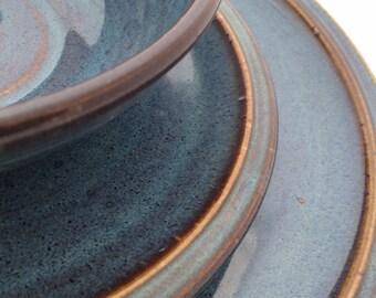 3 piece dinnerware  set- DInner plate, Salad plate, bowl in Twilight  blue glaze.