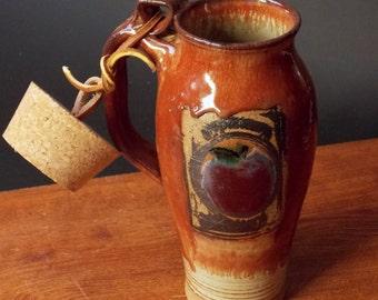 Stoneware Travel Mug With Cork ~ Apple Design ~