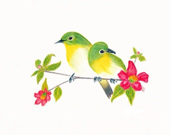 Birds Of A Feather , Original Art Post Cards