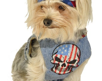 Dog Harness Outfit for July 4 with skull cap in sizes XXS to Large